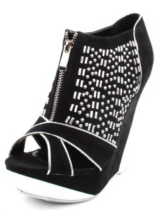 Prosper8 Stud Metal Inset Wedge Booties