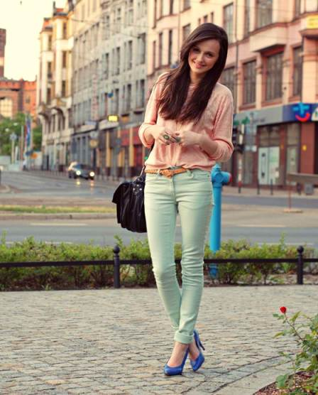 blue high heeled shoes with green jeans