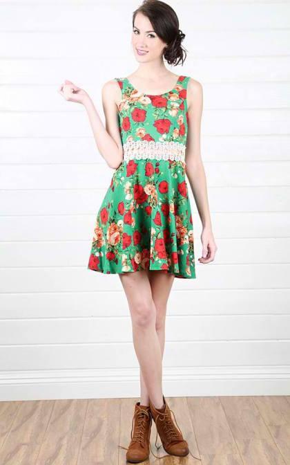Floral Corchet Insert Dress