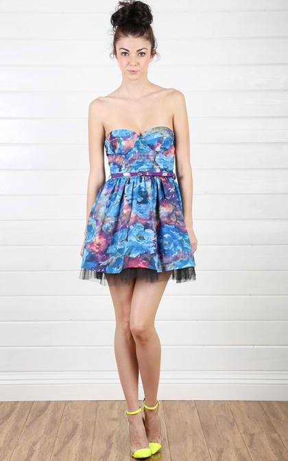 Floral Petticoat Belted Dress