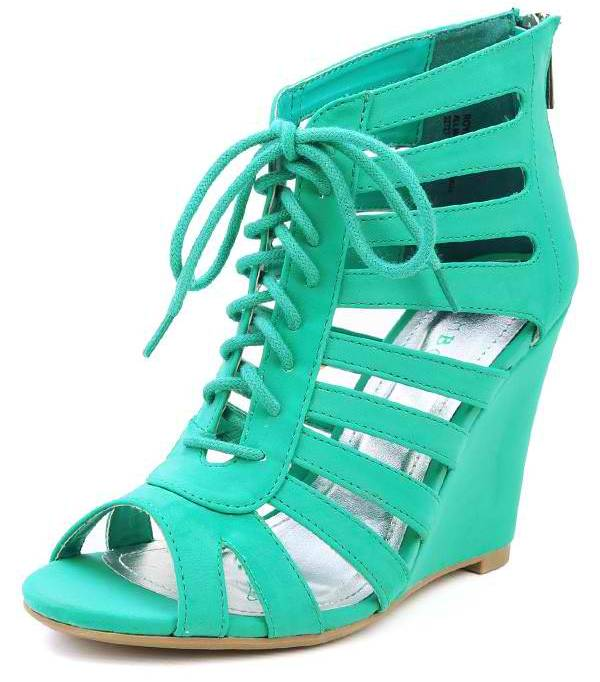 Lace Up Cut Out Caged Wedges | Miss