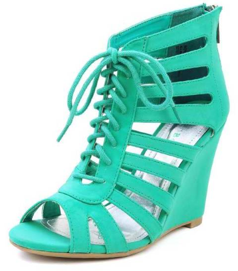 Lace Up Cut Out Caged Wedges